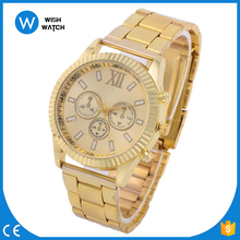 Alibaba & Aliexpress Hot Selling Geneva Design Alloy Strap Silver/Gold/Rose Gold Stock Dress Men Watches AW010