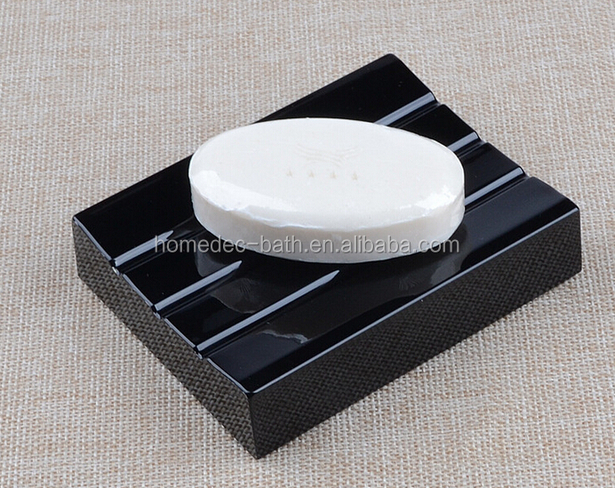 Black color Acrylic soap holder for hotel bathroom