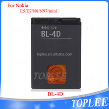 Newest rechargeable OEM battery for model Nokia bl-4d E5 E7 N8 N97 mini lithium battery in black color