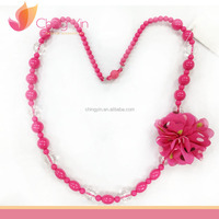 Chic Baby Girls' Fashion Jewelry Hot Pink Beads with Printed Chiffon Flower Necklace