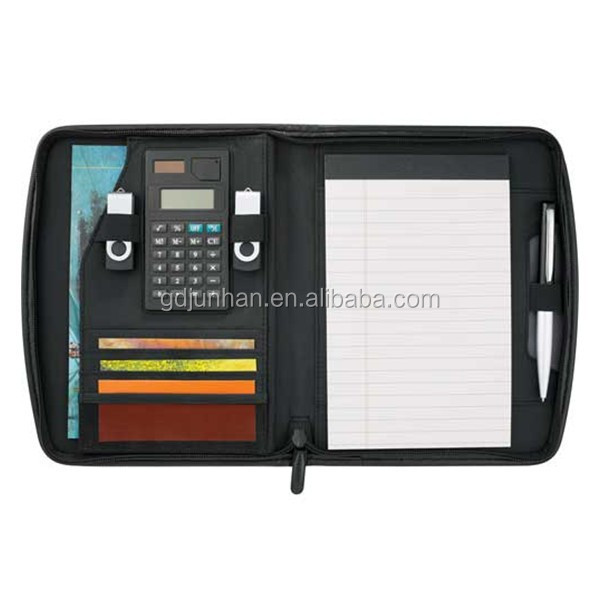 Fashion A4 leather folio with calculator