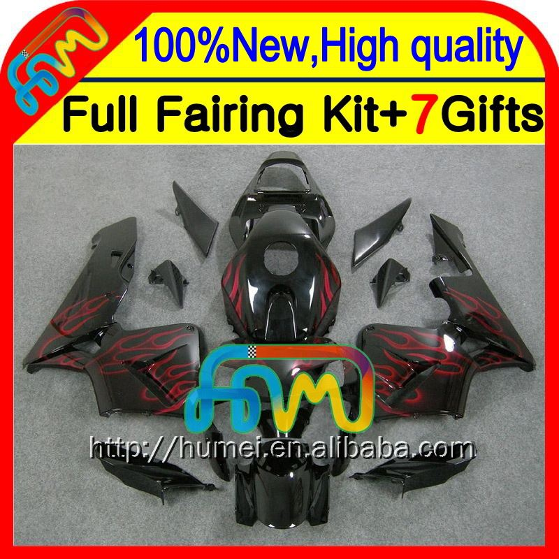Body Injection For HONDA CBR600RR 03-04 F5 Red flames 24CL30 CBR600 RR CBR 600RR 600 RR 03 04 2003 2004 Fairing Red black