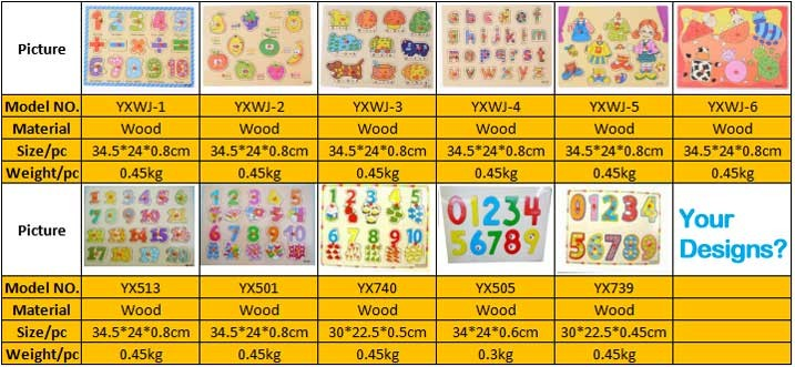 2016 Educational Board Game Wholesale Wooden Montessori Puzzle Toys Baby Children Toys Custom Cartoon Animal Christmas Gifts