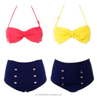 Women Sexy Retro Pin Up High Waisted Bikini Bow Swimsuit Swimwear Bikini Beachwear