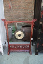 chinese antique furniture wooden carved Black and Red gong stand gong base with Gong