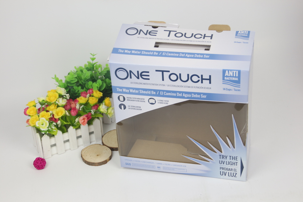 cardboard packaging with plastic window