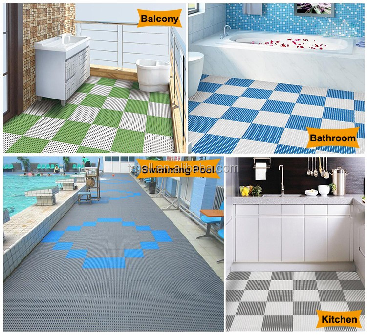 Durable using confortable PVC plastic flooring tiles for swimming pool