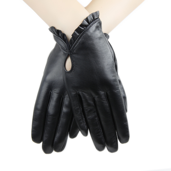 Elegant Ladies Genuine Leather Gloves Ruffle Cuff Party Dress Gloves