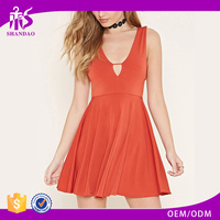 2016 shandao new fashion design summer plain dyed cotton V-neck sleeveless formal short dresses patterns
