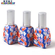 Shape mix polymer clay handmade glass perfume bottle with sprayer