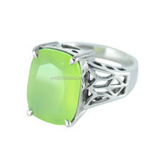 925 Sterling Silver Cushion Cut Peridot Chalcedony Gemstone Ring Jewelry