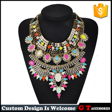 CHeap Wholesale Squared Round large Crystal Pendant Chunky Necklace With Multi Tiny Crystal Jewelry For Women