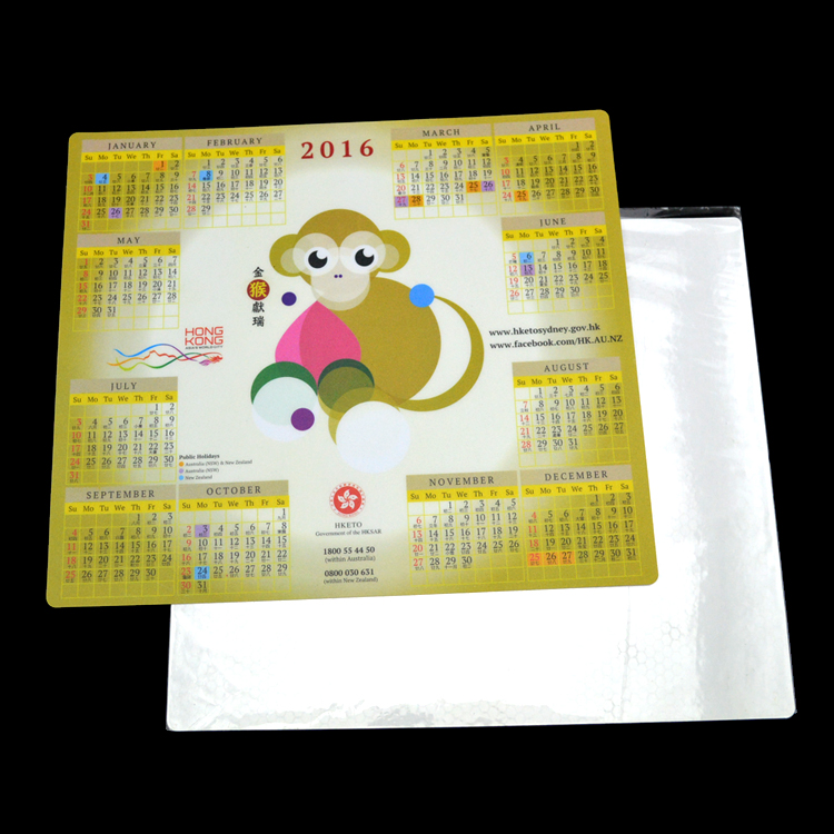 2016 calendar printed self-adhesive ultra-thin mouse pad