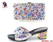 Gzmadison Fashion Multicolor Stones Italian Shoes With Matching Clutch Bag Set For High Quality Italian Shoes/MTS11-1
