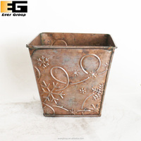 Coppery Rectangle Embossing Metal Flower Boxs