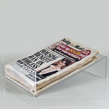 Simple Design Tilted Transparent Acrylic Plexiglass Newspaper Holder Tray