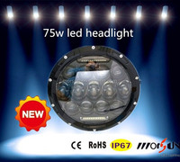 Jeep Wrangler parts 75w 7inch Low+High Beam LED head light with DRL