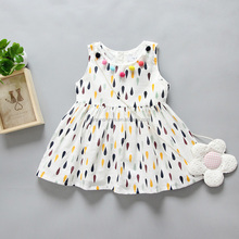 1-5 Years 2017 New Sleeveless Kids Baby Dress Fashion Cotton Baby Kids Clothes Raindrops 2 Year Old Girl Dress