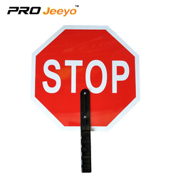 "14x14"" Aluminum Hand Held Stop Signs, 6"" Poly-grip Handle Stop/Slow Paddle Safety Traffic Sign Clamps"