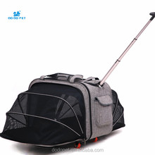 High quality with wheels extensible pet carrier Outdoor Pet cart bag.