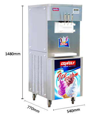 Stainless Steel High Effective Three Flavours Soft Serve Ice Cream Machine for coffee shop / hotel