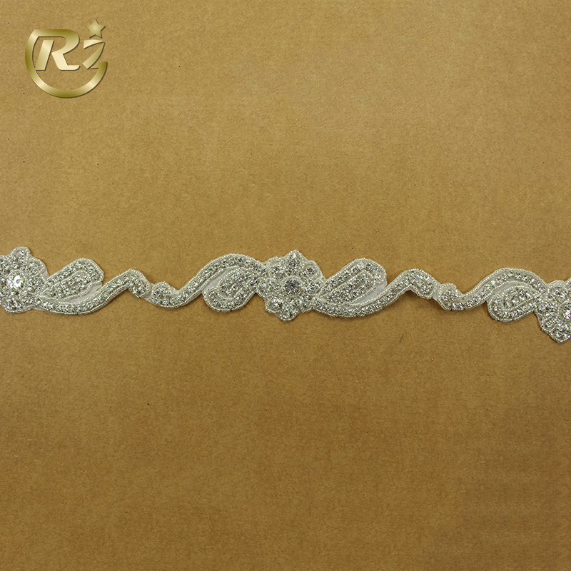 TL-129 Professional Crystal Bridal Wholesale Stone Gorgeous Embroidery Rhinestone Applique Trim