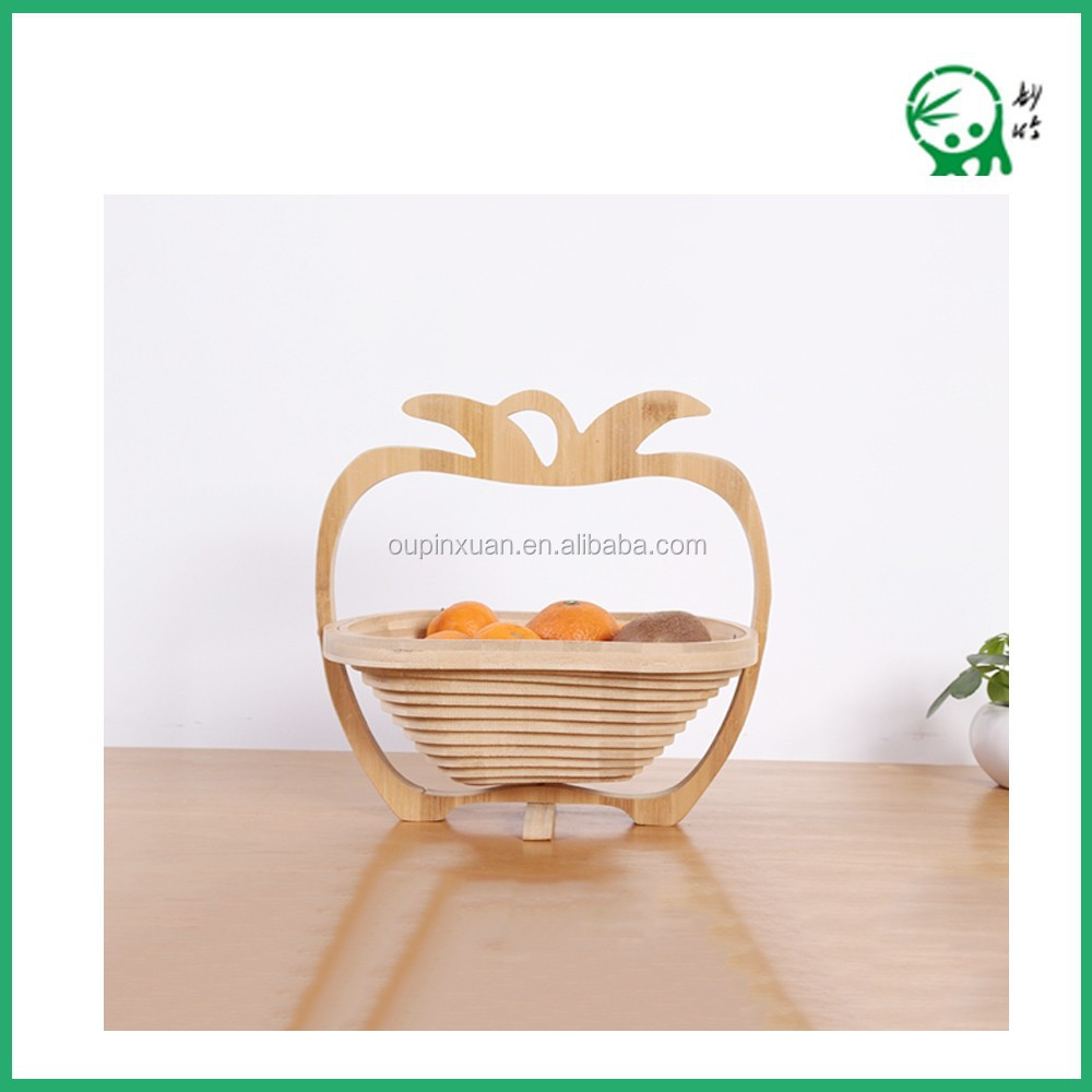 Fruit Storage,Hanging Natural Bamboo Apple Shape Folding Fruit Basket