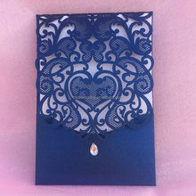 Royal blue pearl light paper laser cut bengali wedding invitation card