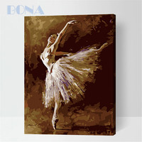 Bona Diy Home Decor Digital Canvas Oil Painting By Number Kits White Swan