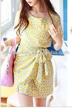 KOREAN WOMEN SWEET AND SMALL FLORAL TIE WAIST SLIM SHORT-SLEEVED DRESS D90677S