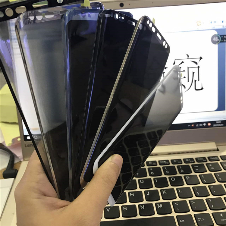 for Samsung S8 privacy screen protector 3D Factory Wholesale mobile tempered glass S8 S8 Plus S9 S9 Plus Note 8