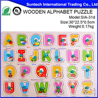 Wholesale Educational Wooden Alphabet Puzzle Toy Kid Jigsaw Puzzle