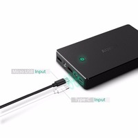 Aukey QC2.0 & AIPower dual USB port Type-C Output/Input 20000 mah portable power bank include high quality data cable