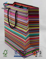 Glossy lamination printing customized shopping paper bag from china