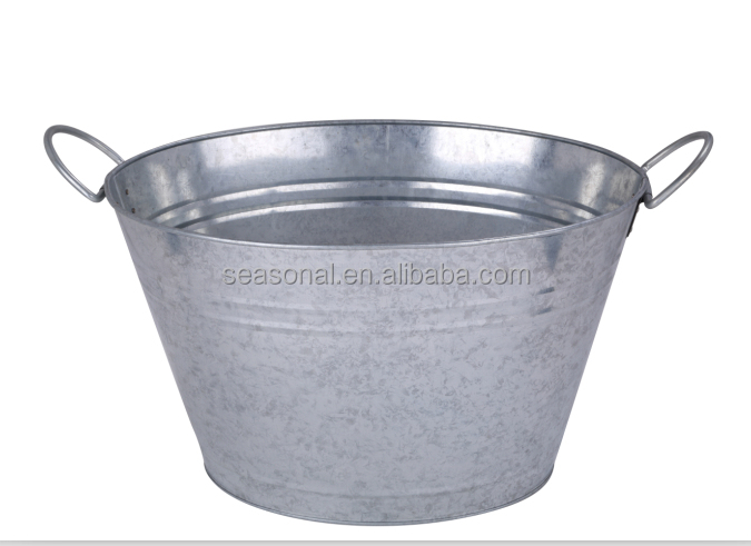 Large oval metal galvanized iron ice beer bucket party tub