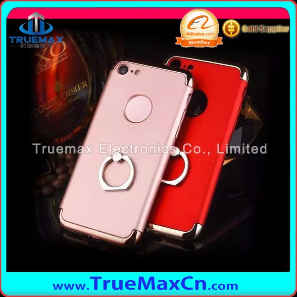 New Products 3 Pieces Sets Scrubs Cell Phone PC Case for iPhone 7 Plating Upper And Down Cover With Ring Buckle Case