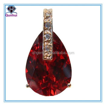 fashion red pear shaped gemstone necklace