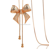 Gold Plated Crystal Rhinestone Butterfly Bow Tie Long Sweater Necklace