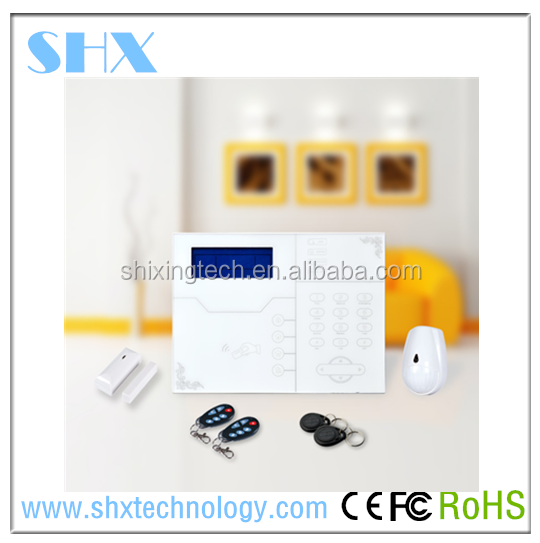 2015 New product! Rfid tag GSM + TCP/IP home security alarm system support Contact ID