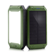 High Capacity Portable Dual USB Port 5V Input Solar Power Bank 10000mAh with LED Light For Outdoor Camping Emergency