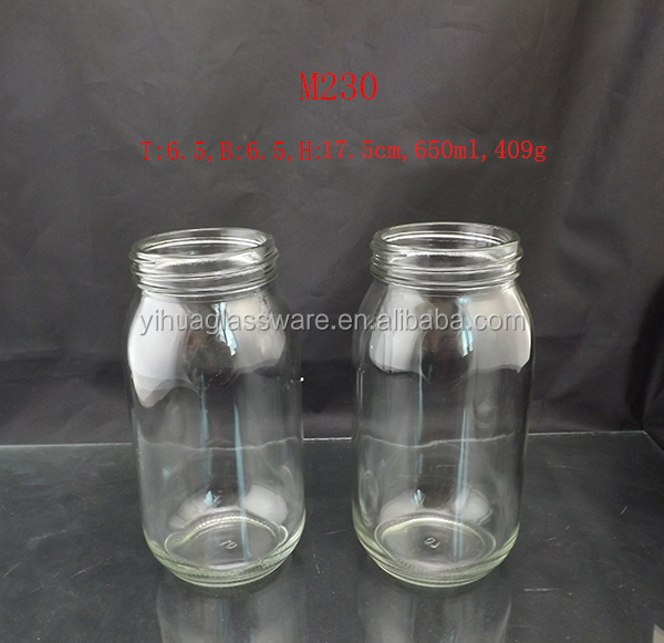 650ml transparent mason jar drinking glass with straw and handel
