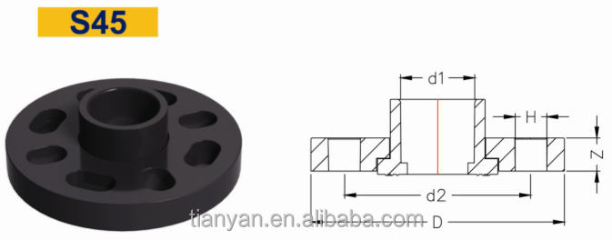 TY High quality schedule 80 UPVC pipe fittings MOVEABLE CASING FLANGE Cheap Full Size 3/4''---8'' factory price list