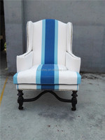 Decorative accent chairs single seater wood sofa chairs carved wood legs chairs