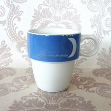 [ZIBO HAODE CERAMIC] White and blue unique coffee mugs Ceramic Coffee Cup