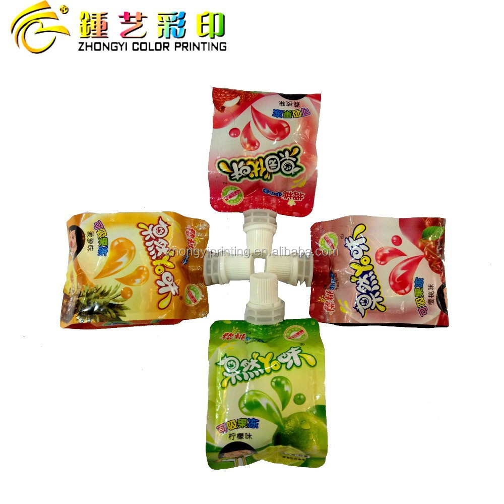 Hot sale Jelly plastic food packaging bag,center spout side-gusset plastic bag packing&printing with OEM/ISO certification