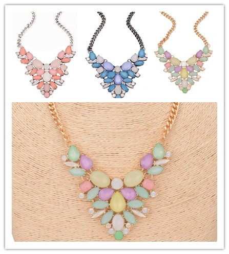 Floral resin bib bead statement collar party necklace fashion jewerly
