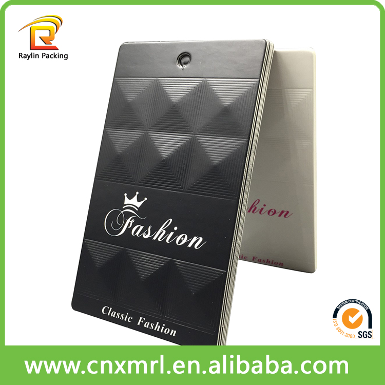Hot stamping embossed hang tag design for garment