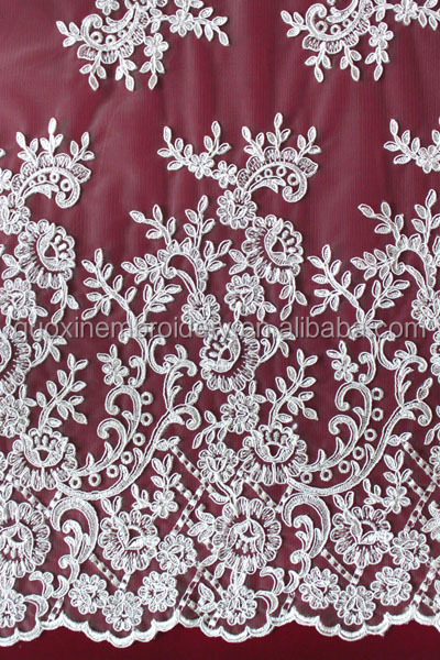 Cord lace fabric/Knitted wedding lace fabric