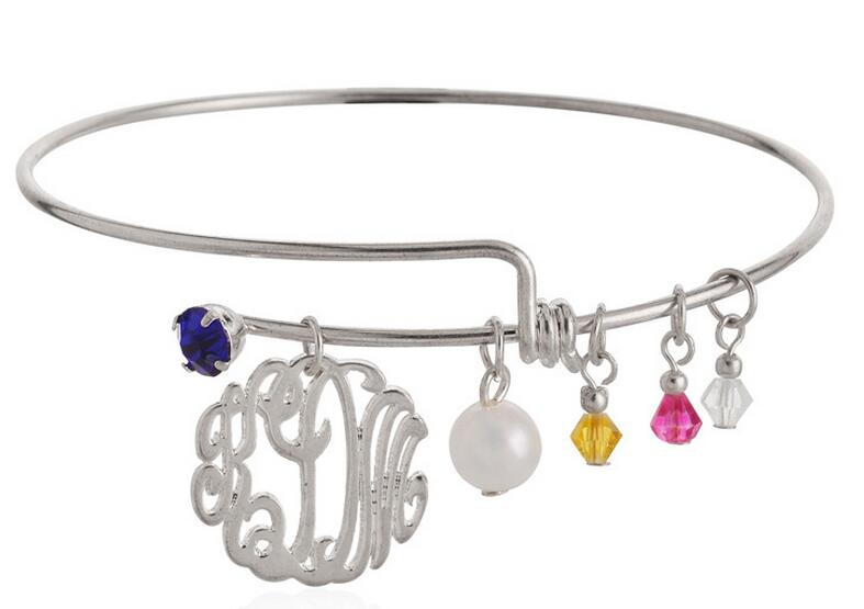 adjustable and expandable alex bracelet monogram charm bangle