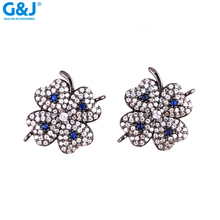 Guojie Brand Rhodium Plated Turquoise paved Clover Lucky Connectors fit Jewelry Making Bracelet Findings Accessories DIY Craft